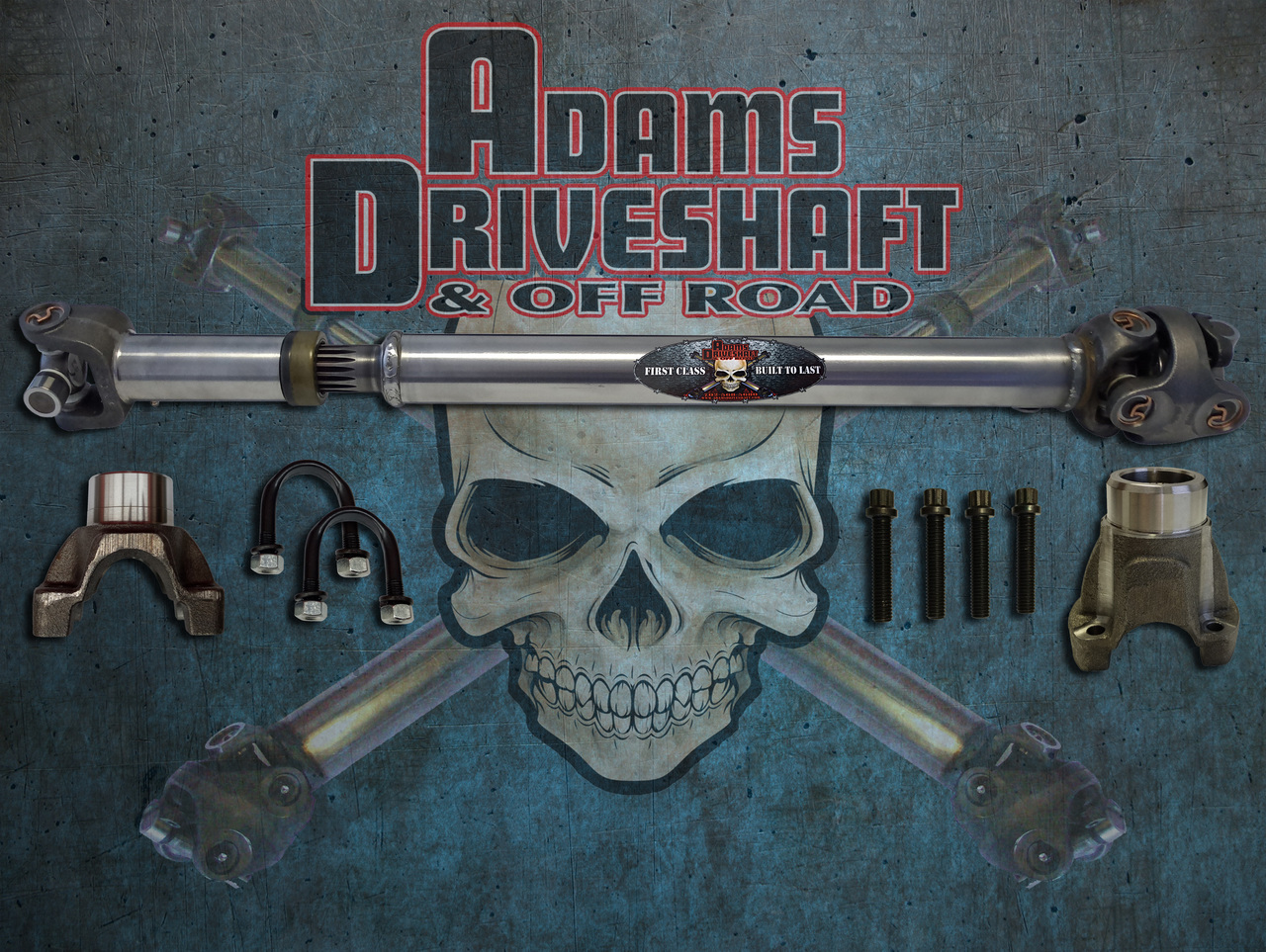 ADAMS DRIVESHAFT JK FRONT 1310 CV DRIVESHAFT SOLID SPICER U-JOINTS with PINION YOKE [EXTREME DUTY SERIES]