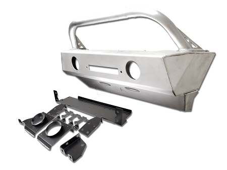 EVO Mfg - Jeep Wrangler JL/Gladiator Front Alumilite Bumper. With Fog Lights Provisions, Hoop and Skid Combo - EVO-3110ALC