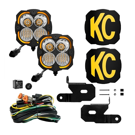 KC FLEX ERA® 4 - 2-LIGHT SYSTEM - PILLAR MOUNT - 80W COMBO BEAM - FOR 18-21 JEEP JL / JT - #97141