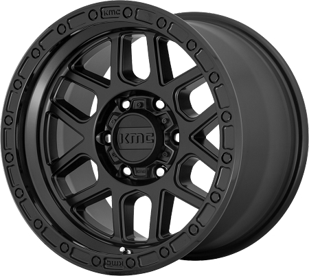 KMC KM544 Mesa - 17x8.5 with 5 on 5 Bolt Pattern - Satin Black with Gloss Black Lip